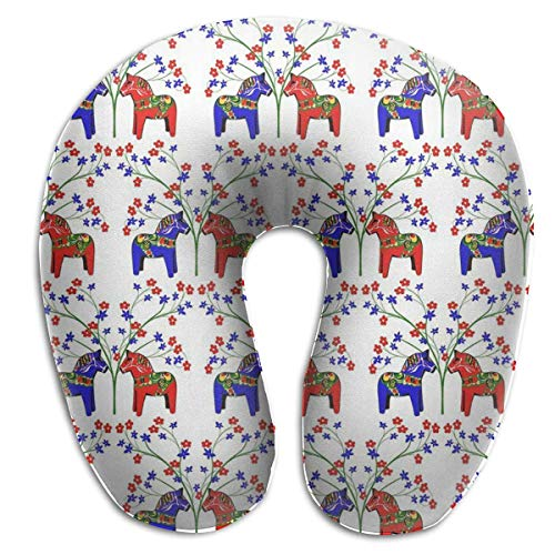 CHJOO Neck Pillow,Floral Swedish Dala Horses Comfortable Travel Pillow, for Travel, Home, Neck Pain, and Many More with The Comfort Support Pillows