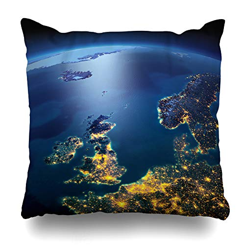 Suesoso Decorative Pillows Case 18 X 18 inch Night Planet Earth Precise Detailed Relief and Throw Pillowcover Cushion Decorative Home Decor Nice Gift Garden Sofa Bed Car ()