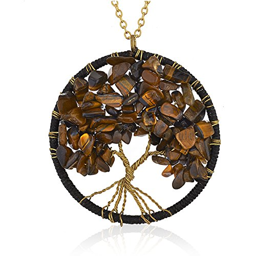 Chuvora Gold-Plated Brass Copper Trunk Tree of Life Tiger Eye Gemstone Statement Pendant Necklace, 30 inches Blue Tiger Eye Pendant
