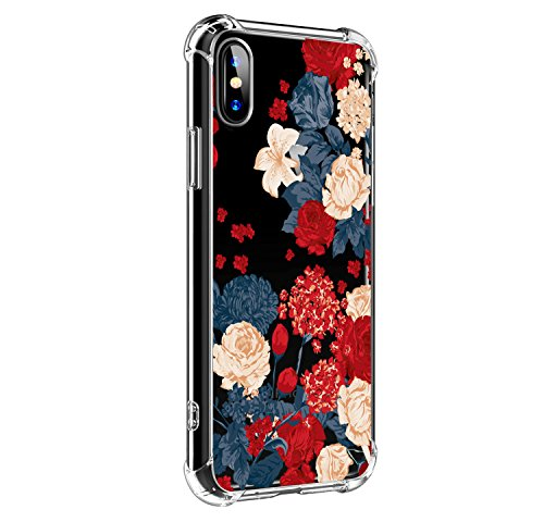 iPhone-X-Case-iPhone-X-Case-with-Flowers-Hepix-Clear-Floral-Pattern-Soft-Flexible-TPU-Back-Cover