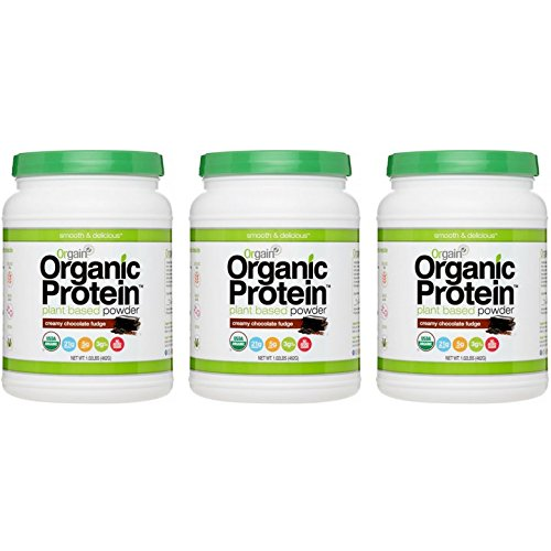 Orgain Organic Plant Based Protein Powder, Creamy Chocolate Fudge, 1.02 Pound, 3 Count by Orgain
