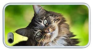Hipster amazing iPhone 4 case adorable cat TPU White for Apple iPhone 4/4S
