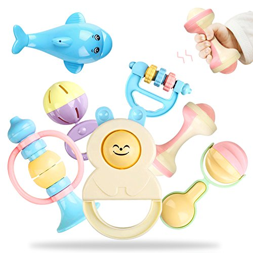 Rattle Peradix Baby Rattle Toy Set,Rattle'n Rock Newborn Toys Hand Bell Kit(Light Colors)