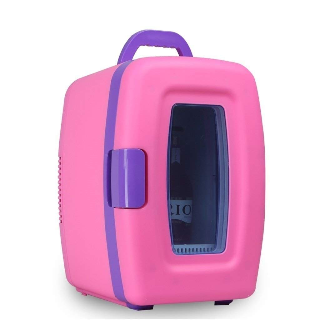 JGWJJ Thermoelectric Mini Fridge Cooler and Warmer - 10 Liter/15 Can - for Home,Office, Car, Dorm or Boat - Compact & Portable - AC & DC Power Cords (Color : Pink)
