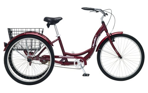 Schwinn Meridian Adult Tricycle with 26-Inch Wheels in Maroon, with Low Step-Through Aluminum Frame, Front and Rear Fenders, Adjustable Handlebars, Large Cruiser Seat, and Rear Folding Basket (Adult Bike Training Wheels)