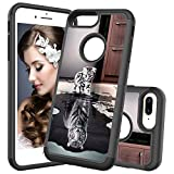 HMTECHUS iPhone 8+ case 7+ case Printing Dual Layer Cloth PC Back TPU Border Non-Slip Shock Resistant Protection Slim Cover for iPhone 6S+ / 6+ / 8 Plus / 7 Plus Cloth 2 in 1 Cat Tiger YB