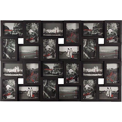 Smartfox Bilderrahmen Fotorahmen Collage für 24 Bilder im Format 10x15 cm in Schwarz, 85x57cm, quadratisch