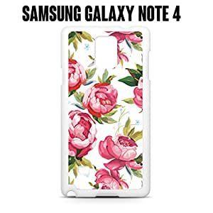 Phone Case Pink Floral Pattern for Samsung Galaxy Note 4 Plastic White (Ships from CA)
