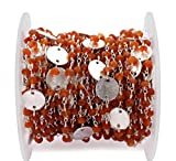 50 Feet Carnelian Rondelle Beads Rosary Chain, 3-4mm Silver Plated Wire Wrapped Rosary Chain, Beads Chain, Gemstone Chain by LadoNarayani