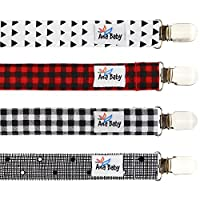Premium Pacifier Clip by Ana Baby for Boys and Girls - Unisex 4 Pack Stylish ...