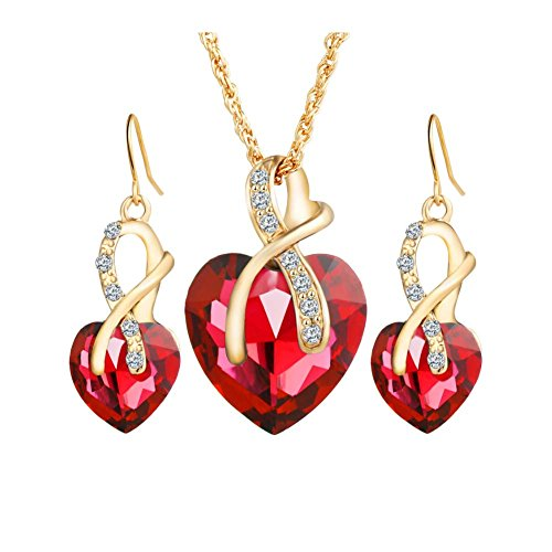Rhinestone Heart Jewelry (Red Heart Crystal Jewelry Set Gold Plated Wedding Jewelry Sets For Women)