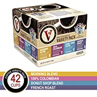 Donut Shop, Morning Blend, 100% Colombian, and French Roast Variety Pack for K-Cup Keurig 2.0 Brewers, 42 Count, Victor Allen's Coffee Single Serve Coffee Pod