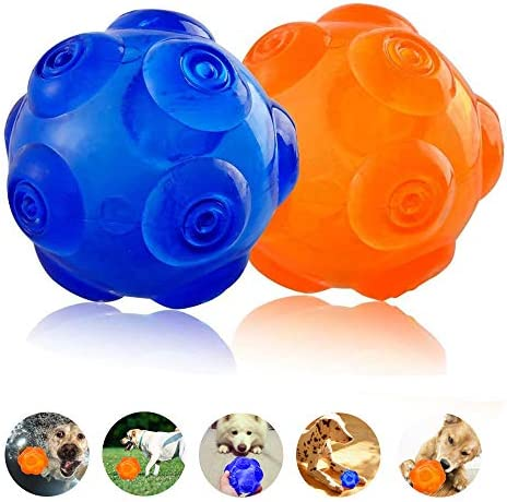 [해외]Unicool Squeaky Toys Dog Interactive Ball Durable Soft Non-Toxic Rubber Squeeze Bouncey Ball for Aggressive ChewersKick and Fetch Ball for Medium Large Dog [Floatable on Water3Inch3.5Inch] / Dog Toy Squeaky Ball, Unicool Non-Toxic ...