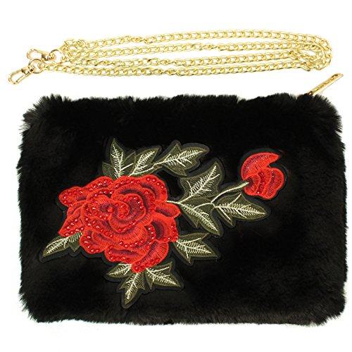 Crystal Accent Gold Tone Key - CC Faux Fur Furry Floral Crossbody Shoulder Handbag Wristlet Clutch Purse Black