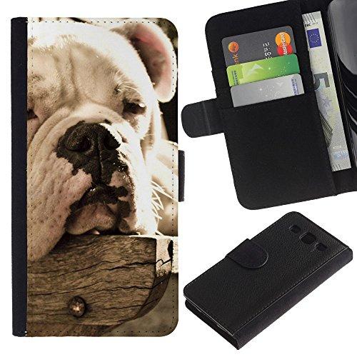 EuroCase - Samsung Galaxy S3 III I9300 - bulldog sleepy dog vignette summer - Cuero PU Delgado caso cubierta Shell Armor Funda Case Cover