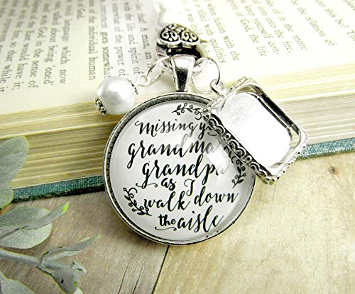 Bouquet Charm Bridal Memorial Grandma And Grandpa Missing You On Wedding Day Loving Memory Vintage White Silver Custom Picture Frame