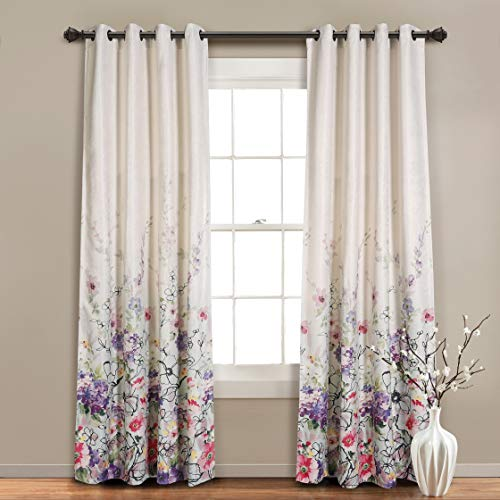 MYSKY HOME Blackout Curtains for Living Room, Linen Textured Window Curtain with Brilliant Color Floral Pattern, Set of 1 Curtain Panel (52 x 95 Inch, Red and Purple)