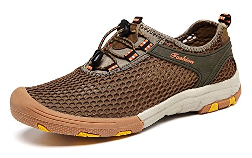 Ausom Mens Mesh Breathable Beach Water Shoes Outdoor Walking Running Sneakers Khaki fj0wHyXPj