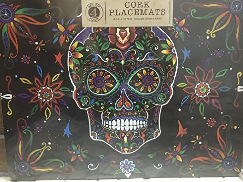 Day of the Dead Skull Dia de la Muertos Faux Chalk Board Cork Back Placemats Halloween Set of 4