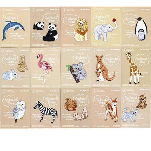 TANG SONG 15Packs Super Cute Mini Embroidered Patches, Cute Animals Embroidery Patches, Delicate Iron On Patches, Sew On Applique Patch, Custom Backpack Patches for Boys, Girls, ()