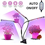 Plant Grow Light 36W 54 LED Bulbs,Cycle Timing Grow Light Auto On/Off Everyday with 3-Head Timing Lamps,4/8/12H Timer,8 Dimmable Levels