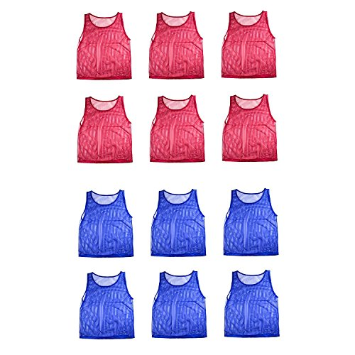 Youth Mesh Scrimmage Vest - Nylon Mesh Scrimmage Team Practice Vests Pinnies Jerseys for Children Youth Sports Basketball, Soccer, Football, Volleyball (12 Jerseys)