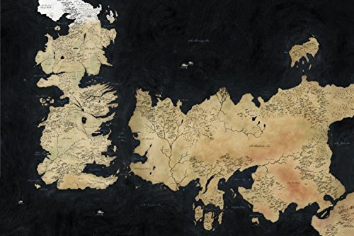 Cartoon World P1088 Game Of Thrones Map 7 Kingdoms Of Westeros Canvas Poster 24 X36    Waterproof Canvas Poster