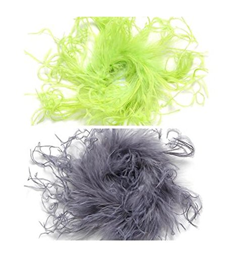 Puff Bow (GOODTECK Curly Ostrich Feather Puff Artificial Dress Up Hair Bow Clip for Accessories 2 Pack(Light lime/Dark Gray))