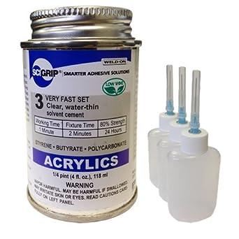 Para soldar 3 acrílico adhesivo - 4 oz y 3 unidades de botella de aplicador de Weld-on con aguja: Amazon.es: Amazon.es