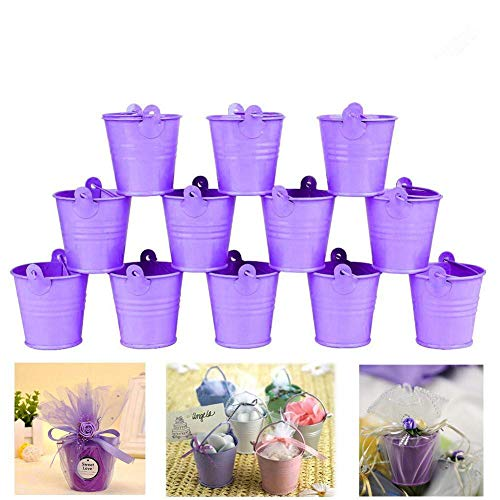 Dproptel All-in-1 Mini Metal Bucket Candy Favours Box Pail Wedding Party Gift/Serving Bucket, Chip Bucket, Condiment Packet Holder, Ash Tray Bucket (Purple)