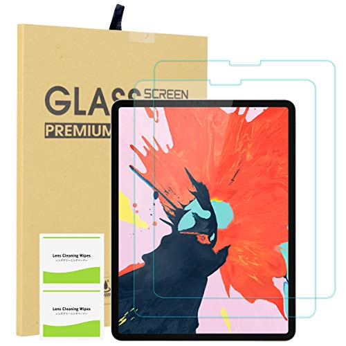 EOTW [2 Pack] Screen Protector for iPad Pro 11, Tempered Glass Screen Protector Work with Face ID Protective Film Anti-Fingerprint HD Scratch 9H Scratch Resistance for Apple iPad Pro 2018 New (Transparency Film 11')