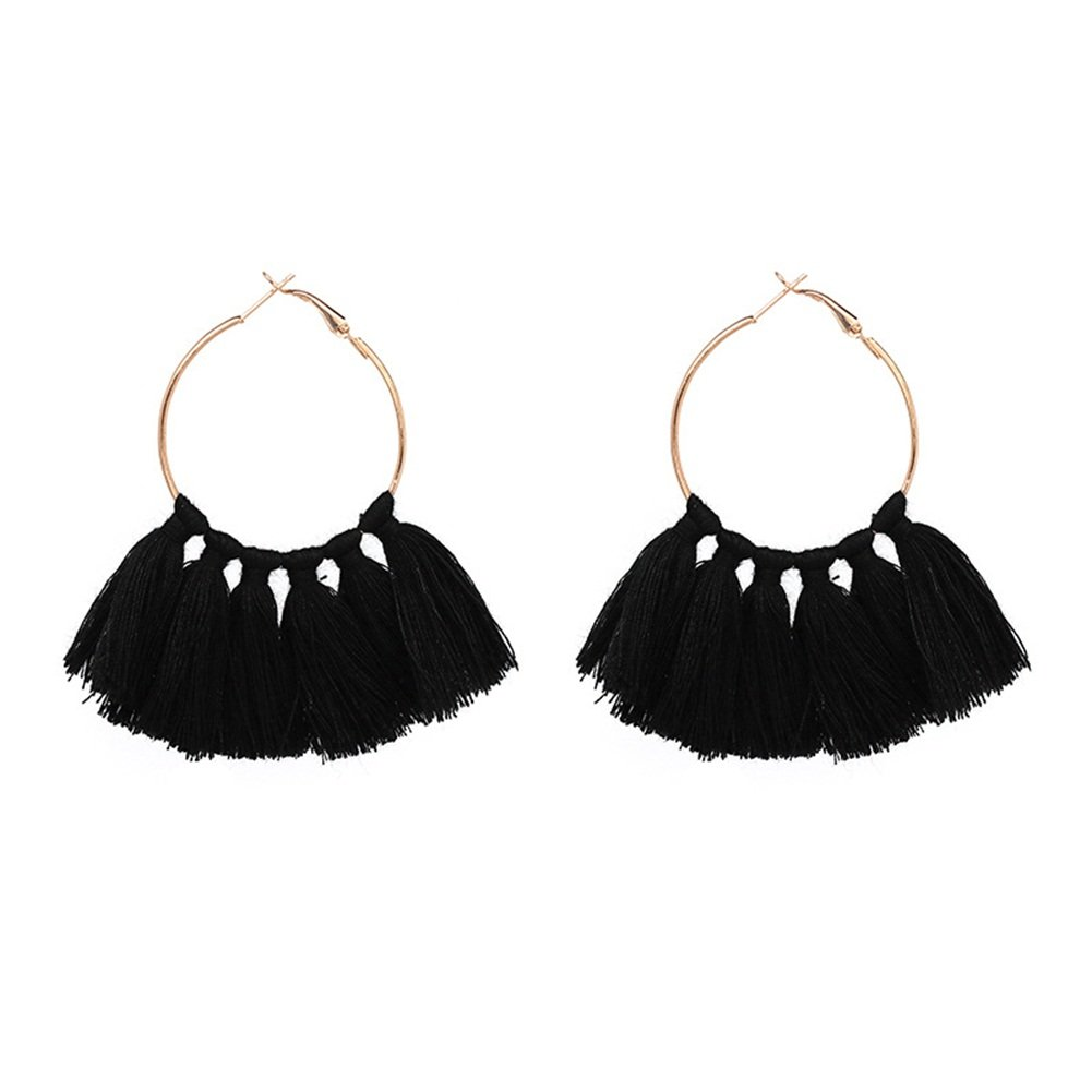 Bohemia Tribal Fringe Fan Tassel Earring Festive Dangle Cotton Tassel Ear Hook MTRSUE WLO-05356100