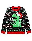 Tstars - Big Trex Santa Ugly Christmas Sweater - Funny Unisex Xmas Kids Sweater