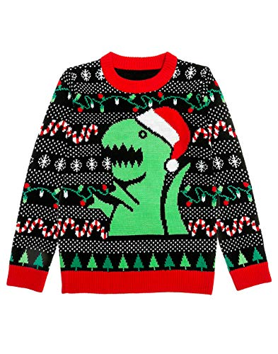 Trex Ugly Christmas Sweater Dinosaur Dino Gift for Boys/Girls 6yr - 12yr Medium Multicolor