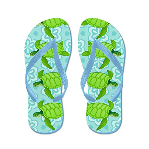 CafePress Gnarly Turtles - Flip Flops, Funny Thong Sandals, Beach Sandals Caribbean Blue