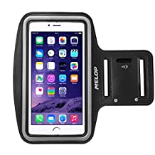 "MELOP Armband (5.5"") for iPhone 7 Plus 6/6S plus, Google Pixel XL, OnePlus One 2 3 T, LG G6 Stylo 2 3 V20, ASUS ZenFone, ZTE Axon 7, Sweatproof Sports Arm band with Key Holder Card Cash Pocket - Black"