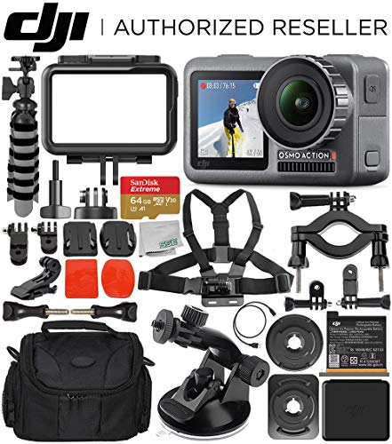 DJI Osmo Action 4K Camera with 64GB Starter Accessory Bundle - Includes: SanDisk Extreme 64GB microSDXC Memory Card + Carrying Case + Suction Cup Mount + Bike Mount Kit + Flexible Tripod + More
