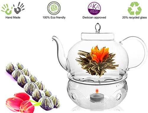 (Glass Teapot with Tea Warmer Lead Free Special Glass No Drip by Tea Beyond (Glass, 45 oz +Detox 12cts))