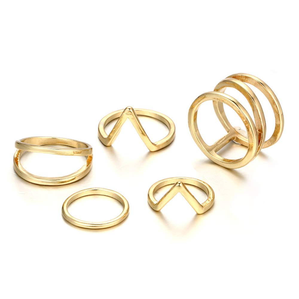 ویکالا · خرید  اصل اورجینال · خرید از آمازون · POYDORA Vintage Gold Bohemian Stack Rings V Rhinestone Joint Rings Knuckle Nail Ring Set for Women Girls (5 PCS) wekala · ویکالا