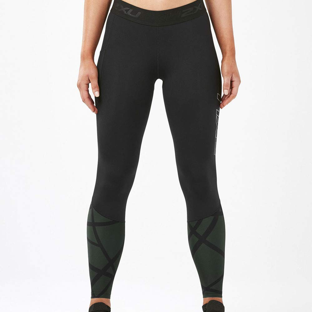 2XU Women's Accelerate Compression Tight Storage (Small, Black/PaintStrokes MntainView)