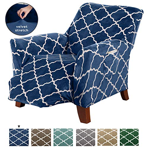 Great Bay Home Modern Velvet Plush Recliner Slipcover. Strapless One Piece Stretch Recliner Cover. Recliner Cover for Living Room. Magnolia Collection Slipcover. (Recliner, Navy) (Furniture Home Standard Magnolia)