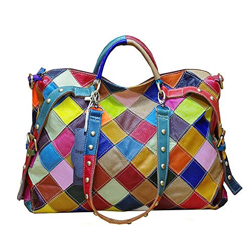 Segater Women's Multicolor Tote Handbag Genuine Leather Color matching Design Hobo Crossbody Shoulder Bag Purses