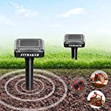 FITMAKER Solar Powered Mole Repellent, Solar Repel Mole, Chaser Mole Gopher Vole Repeller Spikes for Yard Lawn Garden Waterproof (2 Pack)
