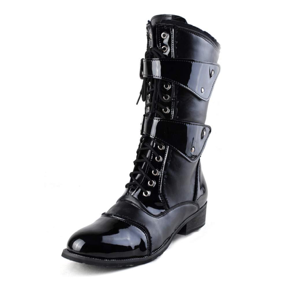 GanSouy Herren Lackleder Cowboy Outdoor Trekking Lange Stiefel Army Military Combat Schwarz PU Schnürschuh Martin Stiefel Reiten Klassische Hohe Stiefel Schuhe