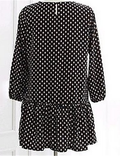 PU&PU Robe Aux femmes Ample Simple,Points Polka Col Arrondi Au dessus du genou Polyester , black-m , black-m