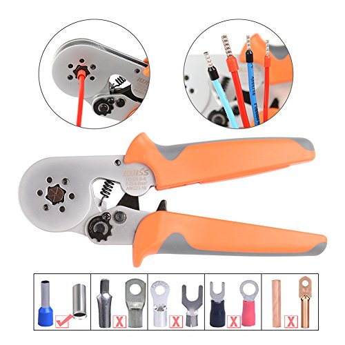 IWISS Hexagonal Crimper Plier HSC8 6-6 Self-adjusting Crimping Tools Used for 23 - 10 AWG (Similar to 0.25 - 6 mm2) Cable End-sleeves Ferrules-Orange Handle ONLY!!