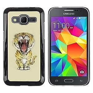 Be Good Phone Accessory // Dura Cáscara cubierta Protectora Caso Carcasa Funda de Protección para Samsung Galaxy Core Prime SM-G360 // Meow Big Tiger Lion Cat