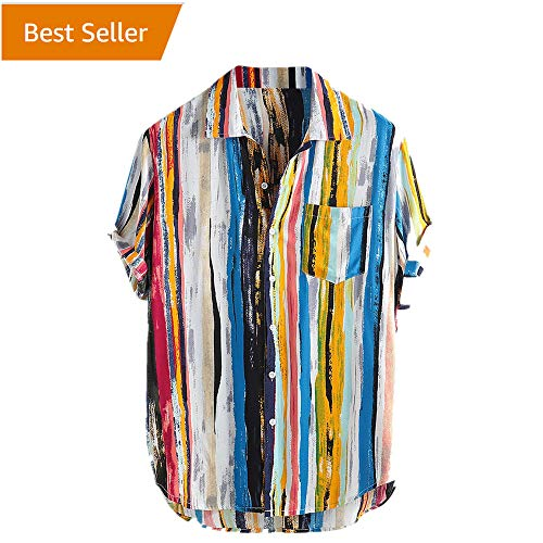 - Colored Stripped Hippie Shirt for Men,Stylish Baggy Roll-Tab Sleeve Tee Holiday Beach Yoga Tropic Button Blouse by Leegor