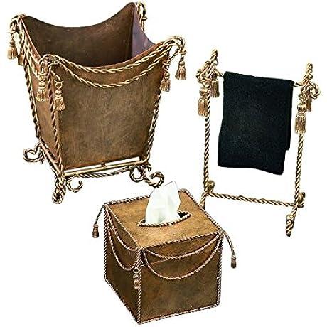 Gold Iron Bathroom Accessory Set Tassel Tissue Wastebasket Towel