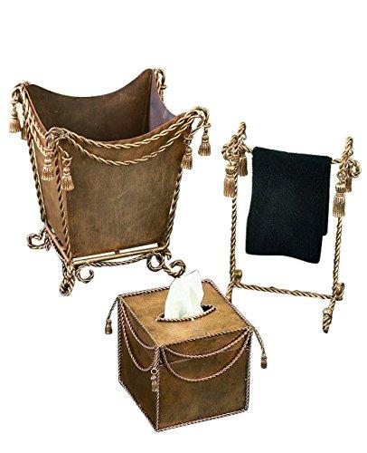 Metal Victorian Basket (Gold Iron Bathroom Accessory Set | Tassel Tissue Wastebasket Towel)